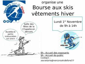 Bourse aux skis et autres affaires d'hiver – Lundi 1er Novembre de 9h à 14h à la salle des fêtes de La Chapelle en Vercors